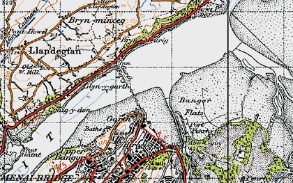 Old map of Bangor Pier in 1947