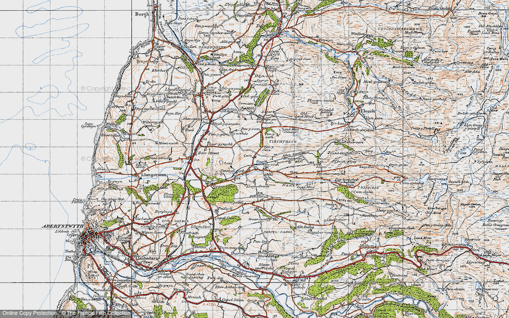 Old Map of Historic Map covering Afon Stewy in 1947