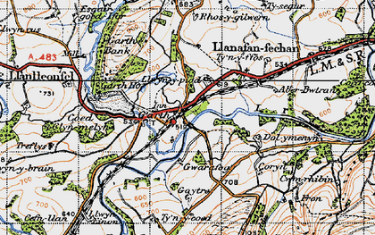 Old map of Banc y Cwm in 1947