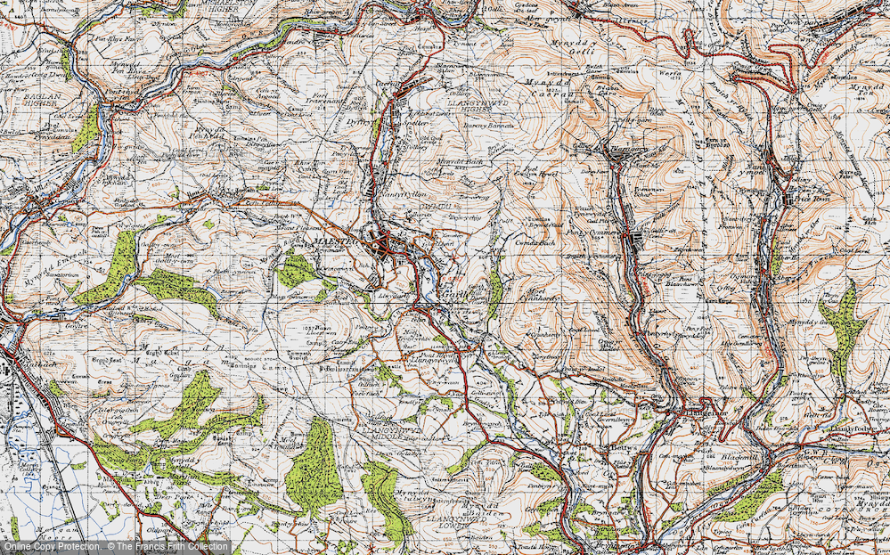 Old Map of Garth, 1947 in 1947