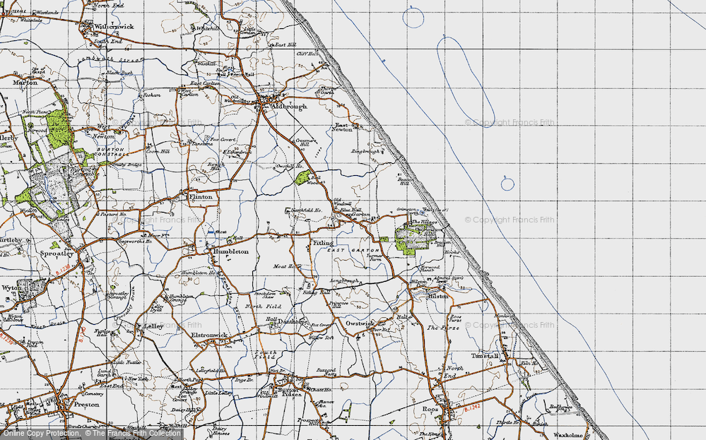 Old Map of Historic Map covering Bail Wood in 1947