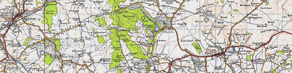 Old map of Aaron's Hill in 1945