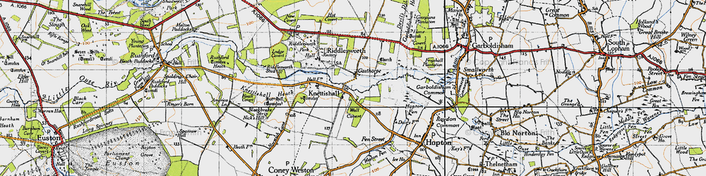 Old map of Angles Way in 1946