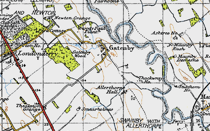 Old map of Allerthorpe Hall in 1947