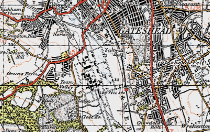 Old map of Gateshead in 1947