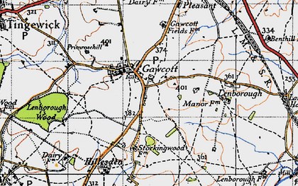 Old map of Gawcott in 1946