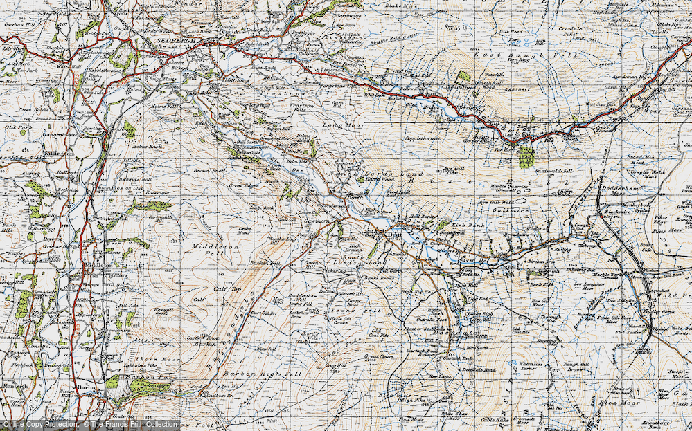 Old Map of Historic Map covering Wood Head Lathe in 1947