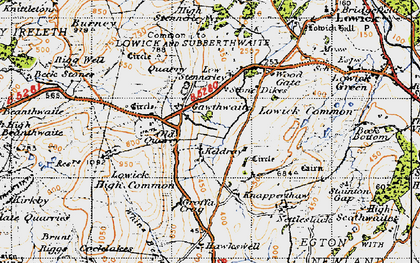 Old map of Whins Beck in 1947