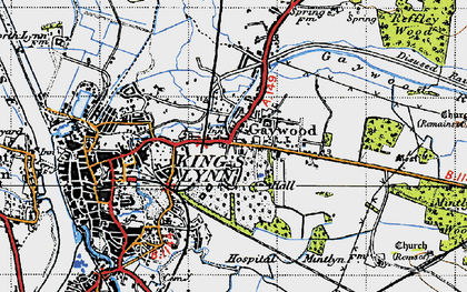 Old map of Gaywood in 1946