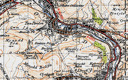 Old map of Gelli in 1947