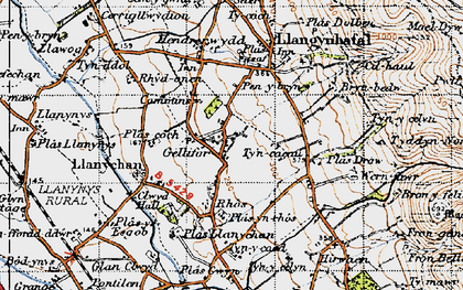 Old map of Gellifor in 1947