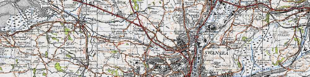 Old map of Gendros in 1947