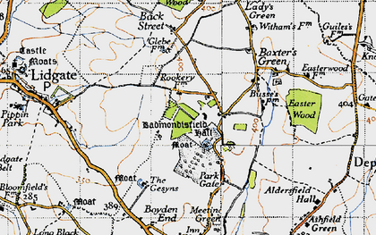 Old map of Badmondisfield Hall in 1946