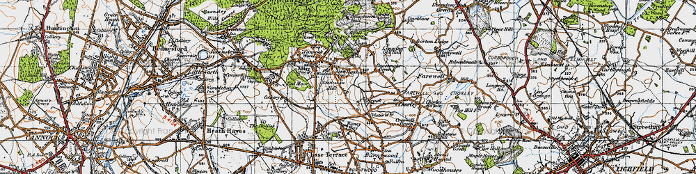 Old map of Gentleshaw in 1946