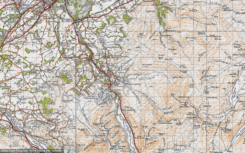 Old Map of Historic Map covering Afon Ffrydlas in 1947