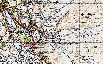 Old map of Afon Ffrydlas in 1947