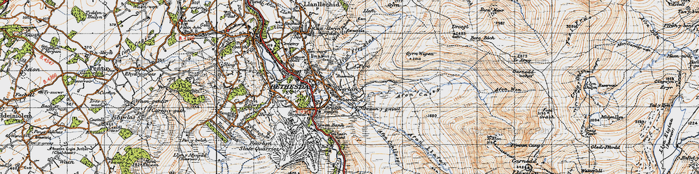 Old map of Afon Caseg in 1947