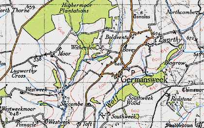 Old map of Witherdon Wood in 1946