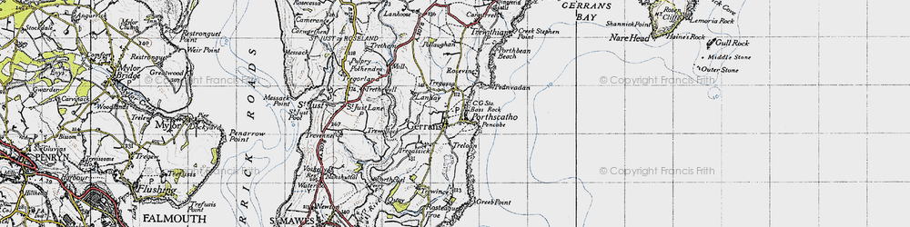Old map of Gerrans in 1946
