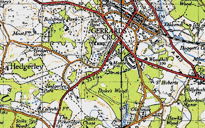 Old map of Gerrards Cross in 1945