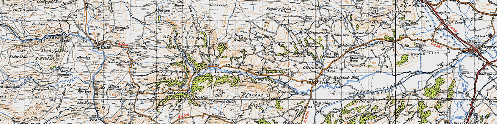 Old map of Afon Trannon in 1947