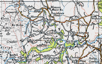 Old map of Gidleigh in 1946