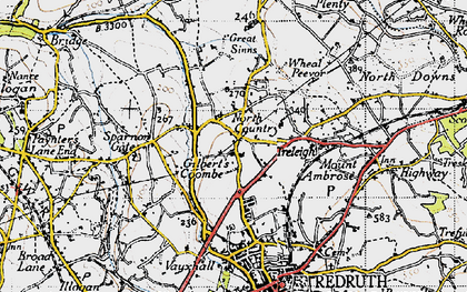 Old map of Gilbert's Coombe in 1946