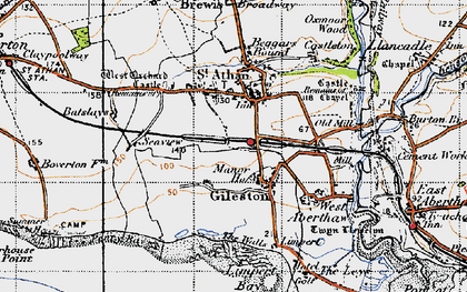 Old map of Gileston in 1947