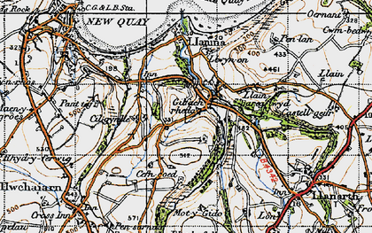 Old map of Gilfachreda in 1947