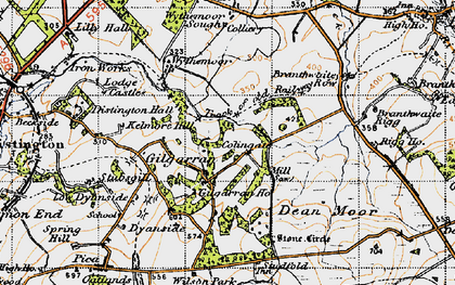 Old map of Wythemoor Head in 1947