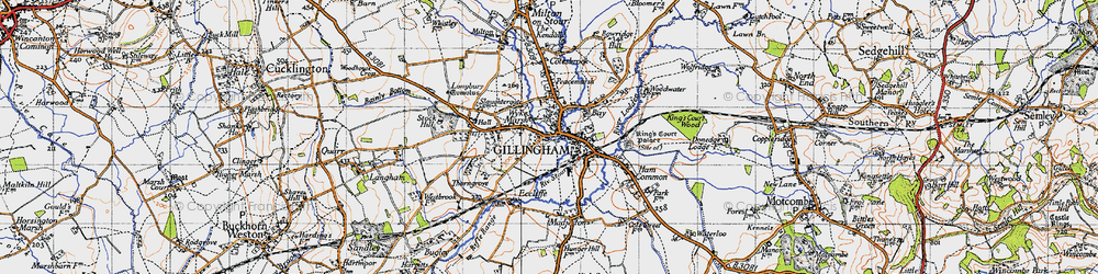 Old map of Gillingham in 1945