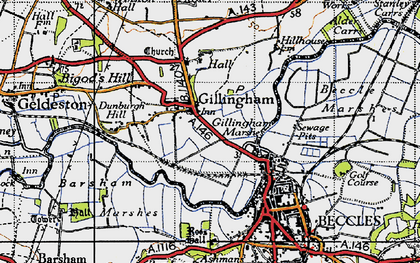 Old map of Barsham Marshes in 1946