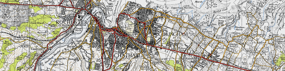 Old map of Gillingham in 1946