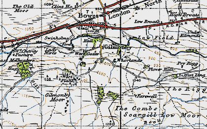 Old map of Whorlands in 1947