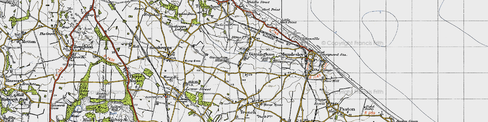 Old map of Gimingham in 1945