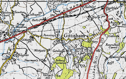 Old map of Gittisham in 1946