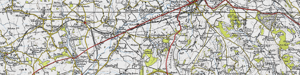 Old map of Gittisham in 1946