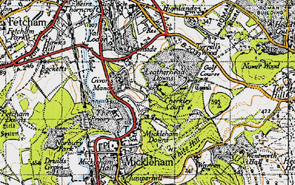 Old map of Leatherhead Downs in 1945