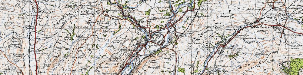 Old map of Ynys-Cedwyn in 1947