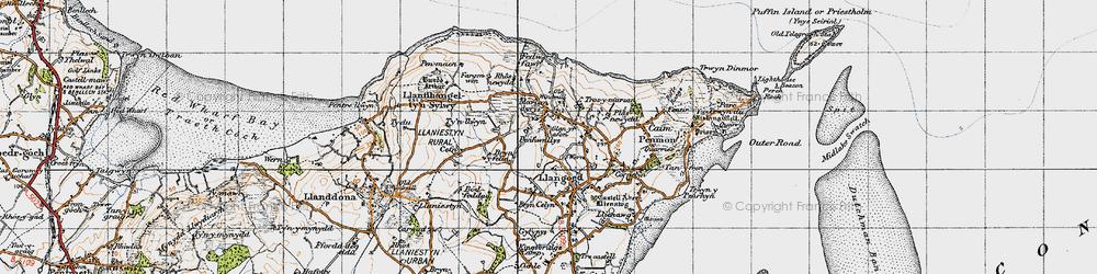 Old map of Bryn Ddol in 1947