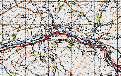 Old map of Glanaman in 1947