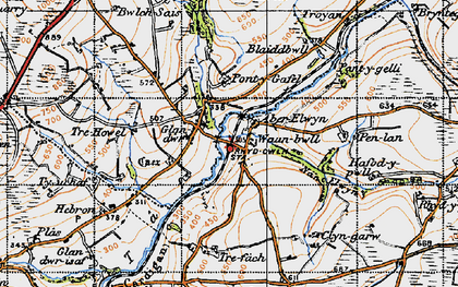Old map of Aberelwyn in 1946