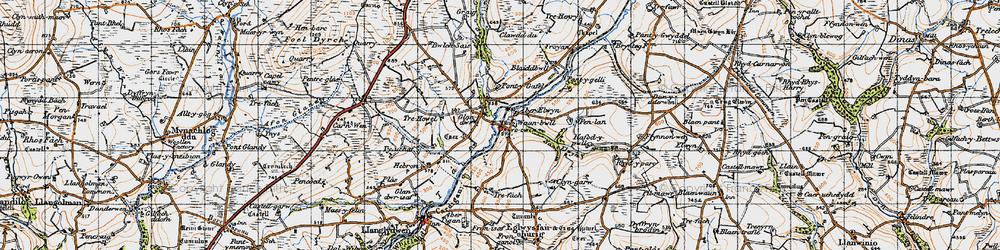 Old map of Aberelwyn in 1946