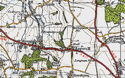 Old map of Glapwell in 1947