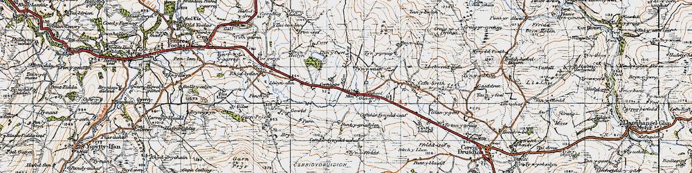 Old map of Afon Llaethog in 1947