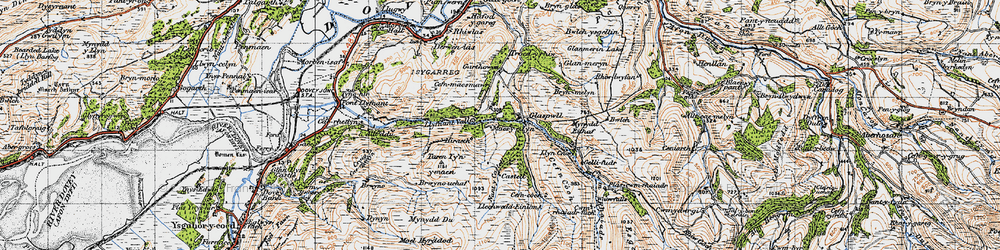Old map of Glaspwll in 1947