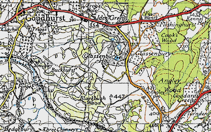 Old map of Glassenbury in 1940