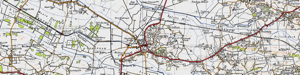 Old map of Glastonbury in 1946