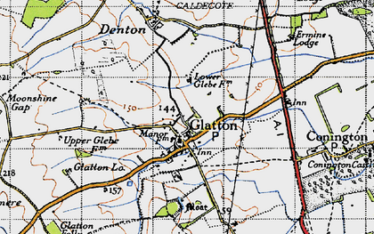 Old map of Glatton in 1946