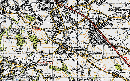 Old map of Gleadless in 1947